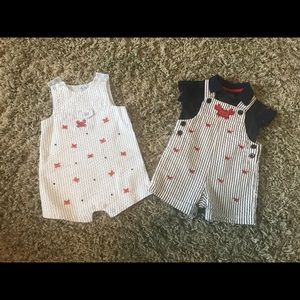 9 month Little Me Crab romper and overalls